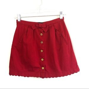 TopShop Red bow button down mini skirt crochet hem